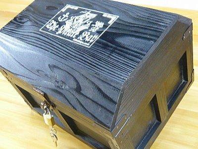 画像1: 【海賊宝箱】デラックス海賊箱(大)ブラック塗装 三方飾り金具仕上げ