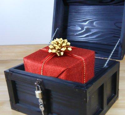 画像2: 【海賊宝箱】デラックス海賊箱(大)ブラック塗装 三方飾り金具仕上げ