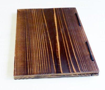 画像3: 【木製メニューブック】綴じ紐タイプ(A4,B5縦型):焼杉仕様