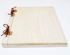 画像3: 【木製メニューブック】 綴じ紐タイプ(A4,B5縦型):桐仕様 色:透明(クリア仕上げ) (3)