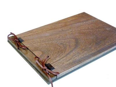 画像1: 【木製メニューブック】 綴じ紐タイプ(A4,B5横型):桐仕様(オーク塗装)
