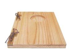 画像3: 【木製メニューブック】 綴じ紐窓穴タイプ(A4縦型):杉(透明) (3)