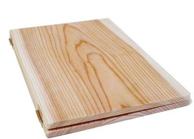 画像1: 【木製メニューブック】ちょう番見開きタイプ(A4,B5縦型):杉板仕様