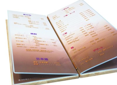 画像2: 【木製メニューブック】ちょう番見開き 縦長規定サイズ:桐 カラー仕様