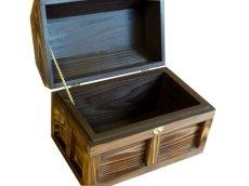 画像4: 【海賊宝箱】シンプル海賊箱(中サイズ フック金具) ロゴ、三方飾り金具なし (4)