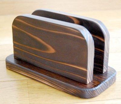 画像1: 【木製メニューブック】焼杉仕様 木製メニューブック立て(スタンド)