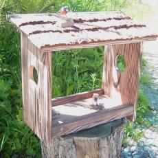 画像2: 【野鳥用餌台(バードフィーダー)】職人手作り 杉皮屋根 焼き杉バードフィーダー(完成品) (2)
