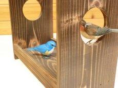画像5: 【野鳥用餌台(バードフィーダー)】職人手作り 杉皮屋根 焼き杉バードフィーダー(完成品) (5)