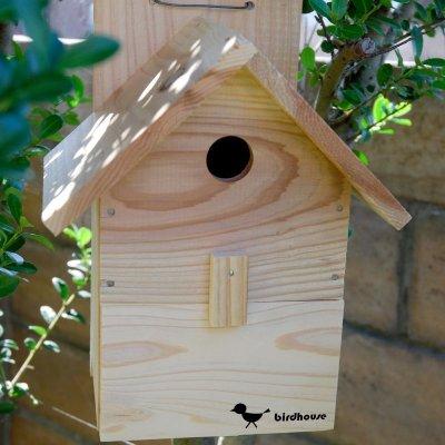 画像2: 【野鳥用巣箱】バードハウスA(前扉タイプ)巣箱(完成品 無塗装)