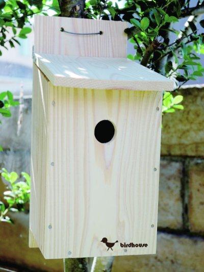 画像2: 【野鳥用巣箱】バードハウスB(上ふたタイプ)巣箱(完成品 無塗装)