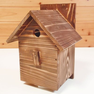 画像1: 【野鳥用巣箱】職人手作り 焼き杉 バードハウスA(前扉タイプ)巣箱(完成品)