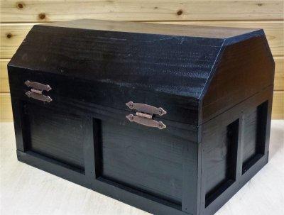 画像2: 【海賊宝箱】シンプル海賊箱(特大)ブラック塗装 ロゴ、三方飾り金具なし