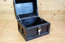 画像4: 【海賊宝箱】デラックス海賊箱(大)ブラック塗装 三方飾り金具仕上げ (4)
