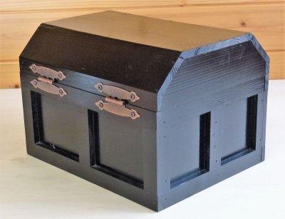 画像3: 【海賊宝箱】シンプル海賊箱(大)ブラック塗装 ロゴあり、三方金具なし