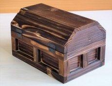 画像3: 【海賊宝箱】シンプル海賊箱(小)焼杉仕様 ロゴ、三方飾り金具なし (3)