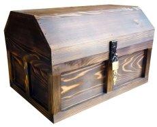 画像2: 【海賊宝箱】シンプル海賊箱(特大)焼杉仕様 ロゴ、三方飾り金具なし (2)