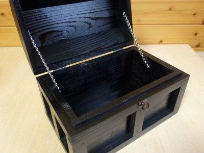 画像3: 【海賊宝箱】シンプル海賊箱(中)ブラック塗装 ロゴ、三方飾り金具なし