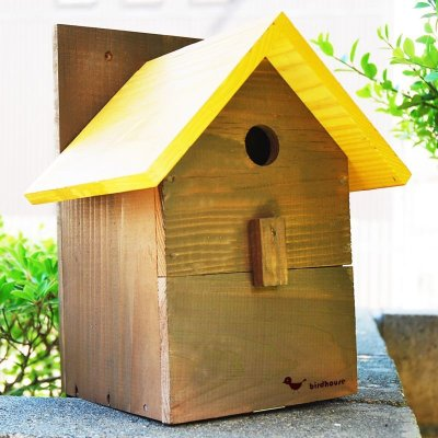 画像1: 【野鳥用巣箱:取り付け型】2色カラフルバードハウスA (前扉タイプ)(完成品) お庭でバードウォッチング!