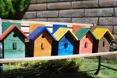画像2: 【野鳥用巣箱:取り付け型】2色カラフルバードハウスA (前扉タイプ)(完成品) お庭でバードウォッチング!