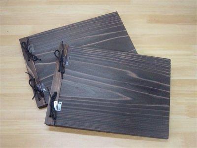 画像1: 【木製メニューブック】 綴じ紐タイプ(A4,B5横型):焼杉仕様