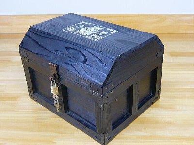 画像3: 【海賊宝箱】デラックス海賊箱(大)ブラック塗装 三方飾り金具仕上げ