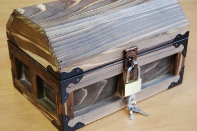 画像1: 【海賊宝箱】デラックス海賊箱(小)焼杉仕様 三方飾り金具仕上げ