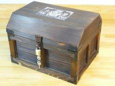 画像6: 【海賊宝箱】デラックス海賊箱(大)宝箱 焼杉仕様 三方飾り金具仕上げ (6)
