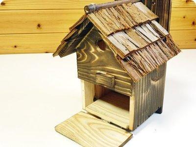 画像1: 【野鳥用巣箱】本格派職人手作り 焼き杉 杉皮屋根デラックス巣箱(完成品)