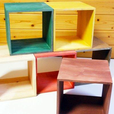 画像2: 【カラーキューブボックス:大サイズ 33cm 引き出しセット】収納ボックス 木製 オープン マルチラック キューブラック シェルフ 本棚 書棚 CDラック