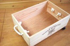 画像6: 【ワインボックス】ロープ取っ手、キャスター付きワイン木箱(ボックス)オリジナルロゴ入り ストレージボックス (6)