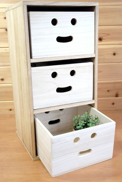 画像3: 【にこにこボックス収納箱】桐製 手穴つきボックス収納箱 木製シェルフ ストレージボックス おしゃれな木の雑貨