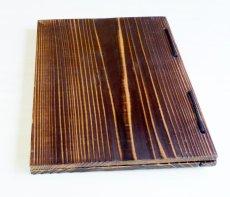 画像4: 【木製メニューブック】綴じ紐タイプ(A4,B5縦型):焼杉仕様 (4)