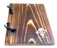 画像2: 【木製メニューブック】綴じ紐タイプ(A4,B5縦型):焼杉仕様 (2)
