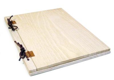 画像1: 【木製メニューブック】 綴じ紐タイプ(A4,B5縦型):桐仕様 色:透明(クリア仕上げ)