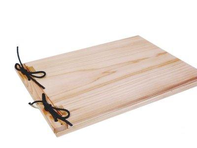 画像1: 【木製メニューブック】 綴じ紐タイプ(A4,B5横型):杉仕様(透明塗装)
