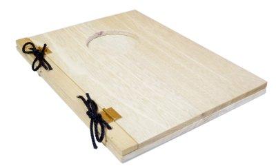 画像3: 【木製メニューブック】 綴じ紐窓穴タイプ(A4縦型):桐カラー仕様