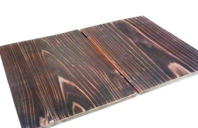 画像2: 【木製メニューブック】ちょう番見開きタイプ(A4,B5縦型):焼杉仕様
