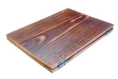 画像3: 【木製メニューブック】ちょう番見開きタイプ(A4,B5縦型):焼杉仕様