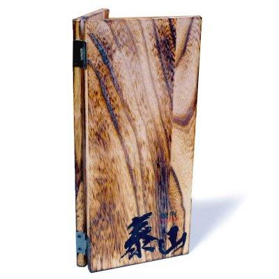 画像3: 【木製メニューブック】ちょう番見開き 縦長規定サイズ:焼桐仕様