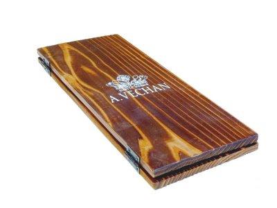 画像1: 【木製メニューブック】ちょう番見開き 縦長規定サイズ:焼杉仕様