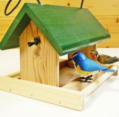 画像1: 【野鳥用餌台(バードフィーダー)】緑屋根がかわいい♪ バードフィーダーデラックス(完成品)