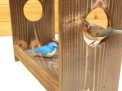 画像3: 【野鳥用餌台(バードフィーダー)】職人手作り 杉皮屋根 焼き杉バードフィーダー(完成品)