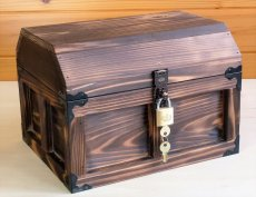 画像2: 【海賊宝箱】デラックス海賊箱(大)宝箱 焼杉仕様 三方飾り金具仕上げ (2)