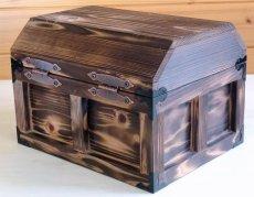 画像4: 【海賊宝箱】デラックス海賊箱(大)宝箱 焼杉仕様 三方飾り金具仕上げ (4)
