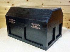 画像3: 【海賊宝箱】シンプル海賊箱(特大)ブラック塗装 ロゴ、三方飾り金具なし (3)