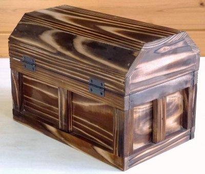 画像2: 【海賊宝箱】シンプル海賊箱(中)焼杉仕様 ロゴ、三方飾り金具なし