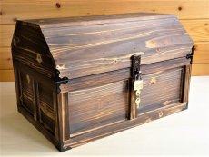 画像8: 【海賊宝箱】デラックス海賊箱(特大)焼杉仕様 三方飾り金具仕上げ (8)