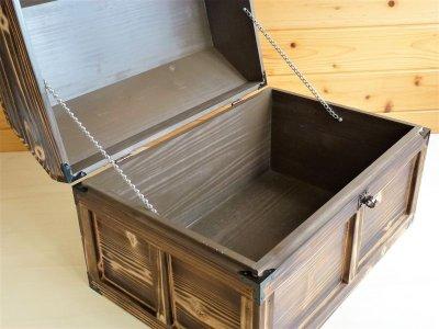 画像3: 【海賊宝箱】デラックス海賊箱(特大)焼杉仕様 三方飾り金具仕上げ