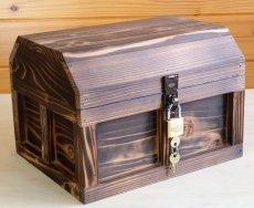 画像2: 【海賊宝箱】シンプル海賊箱(大)焼杉仕様 ロゴ、三方飾り金具なし (2)