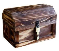 画像2: 【海賊宝箱】シンプル海賊箱(中)焼杉仕様 ロゴ、三方飾り金具なし (2)